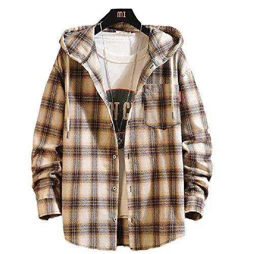 TSTZJ groot formaat mannen capuchon Casual Plaid Shirt Camo Pullover Hoodie Sweatshirts met Camouflage Pocket Button Warm Shirt Lichtgewicht 100% katoen geruit Shirt Zakelijke jas
