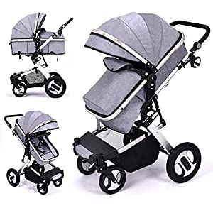 RUXGU High landscape Pushchairs 2-in-1 Baby stroller Travel Systems Folding Lightweight Newborn Safety System With Rain Cover and Mom Bag(Gray)   3