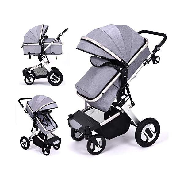 RUXGU High landscape Pushchairs 2-in-1 Baby stroller Travel Systems Folding Lightweight Newborn Safety System With Rain Cover and Mom Bag(Gray) RUXINGGU High landscape stroller, baby travel system High-performance shock absorption guarantees comfort for infants Spacious basket, high view, suitable for outdoor use 1