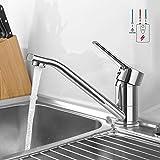 Niederdruck Armatur Küche, WOOHSE 360° Drehbare Niederdruckarmatur Wasserhahn Küchenarmatur Drucklos Einhand Mischbatterie Einhebelmischer Spültischarmatur Spültischbatterie für Spüle