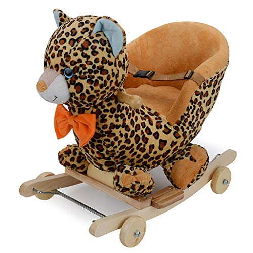 Buy FJH Rocking Horses Rocking Horse Music Solid Wood Base Solid Wood Wheel Rocking Chair Children's...
