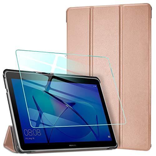 AROYI Funda para Huawei Mediapad T3 10 + Protector Pantalla, Carcasa Silicona TPU Smart Cover Case con Soporte Función para Huawei MediaPad T3 10 (9,6 Zoll) - Oro Rosa
