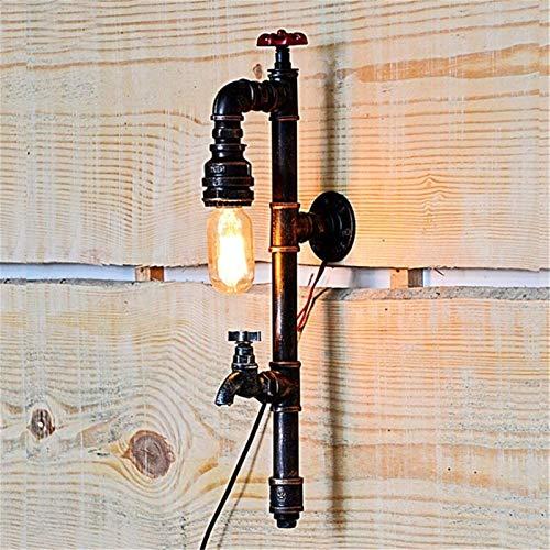 Lámpara de pared Retro Aplique, Luz de pared Interior Loft Industrial Vintage Poste Largo Forma de grifo Decoración Iluminación Lata de hierro forjado Lámpara de pared de agua oxidada E27 Toma para ba