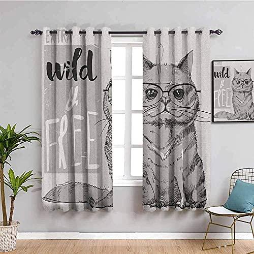 LucaSng Cortinas de Opacas - Negro Animal Gato Arte - 183x160 cm para Sala Cuarto Comedor Salon Cocina Habitación - 3D Impresión Digital con Ojales Aislamiento Térmico Cortinas