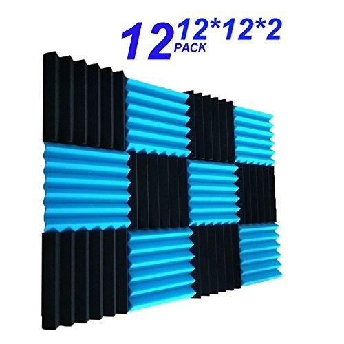 12 Pack- Black&Blue Acoustic Panels Studio Foam Wedges 2