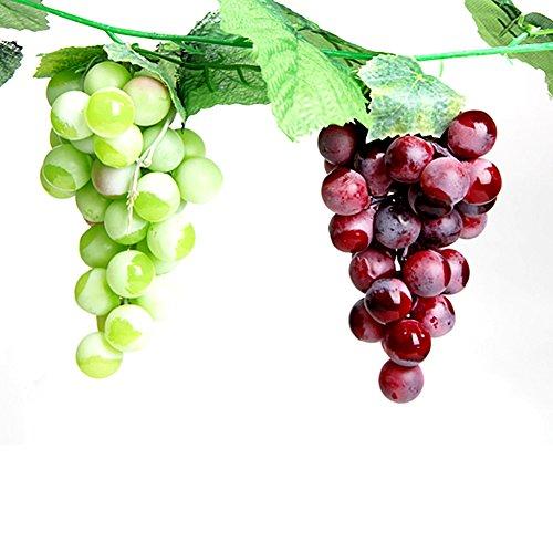 Tong Yue Uvas artificiales realistas de plástico para decoración del hogar, bodas, fiestas, jardines, mini simulación de frutas, verduras, paquete de 2