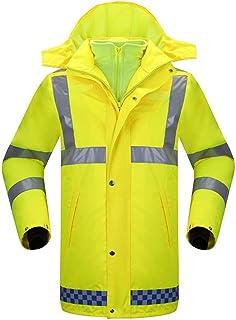 NEHARO Unisex Lluvia Capa de la Chaqueta Hombres Amarillo Fluorescente Plus a Prueba de Viento Caliente Grueso Reflectante...