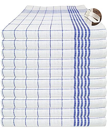 MTEXT Geschirrtücher Halbleinen, 50% Baumwolle 50% leinen, 50x70 cm, 10er Set (Blau)