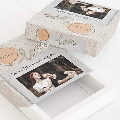 sendmoments Geschenkbox für verschiedene Anlässe, Fotobox Lettering, 5er-Boxen-Set mit Relieflack, personalisierte Box 112 x 130 mm mit eigenem Bild und Text, individuelles Geschenk für Gäste