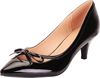 Cambridge Select Women's Pointed Toe Bow Mid Kitten Heel Pump