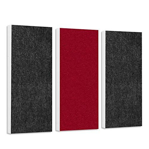 Schallabsorber-Set Colore aus Basotect G+ < 3 Elemente > Anthrazit + Bordeaux