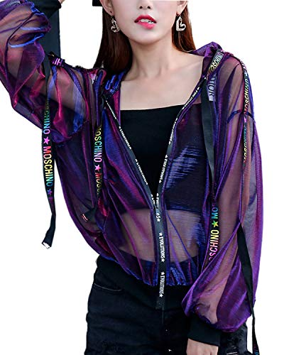 Seevy Hologram Iridescent Transparent Mesh Sun Protection Jacket Purple