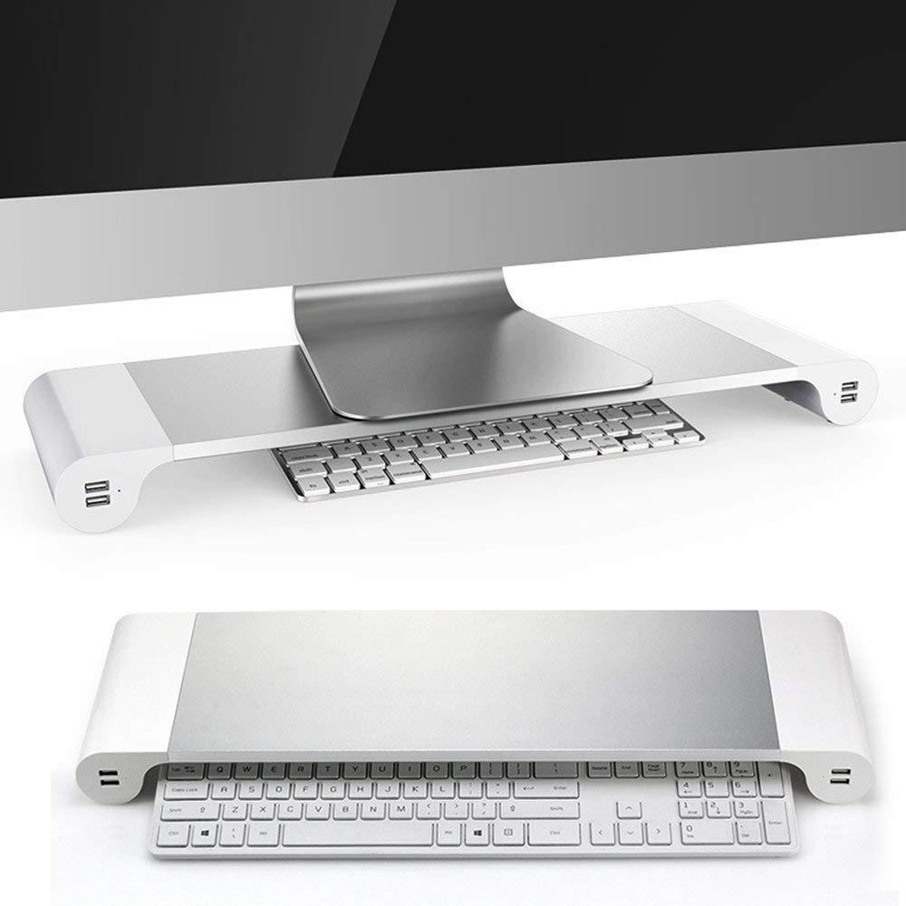 VOLORE Soporte de Monitor Soporte para Monitor PortáTil Barra Espaciadora Soporte para Monitor de Computadora con 4 Puertos USB para Apple iMac/Pc/TV/Macbook/Laptop: Amazon.es: Electrónica