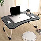 Delcy Multi-Purpose Laptop Table with Dock Stand/Cup Holder/Study Table/Bed Table/Foldable and Portable/Ergonomic & Rounded Edges/Non-Slip Legs (Grey)