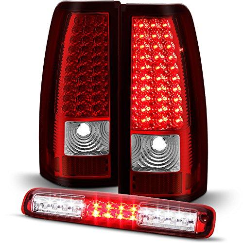 For [Full LED Set] 03-06 Chevy Silverado | GMC Sierra Red Clear LED Tail Lights + 3rd Brake Lamp Combo