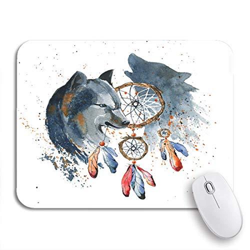 Gaming Mouse Pad Indisches Aquarell Traumfänger Wolf Schmuck Amulett Aztekischer Vogel Rutschfeste Gummi Backing Computer Mousepad für Notebooks Maus Matten