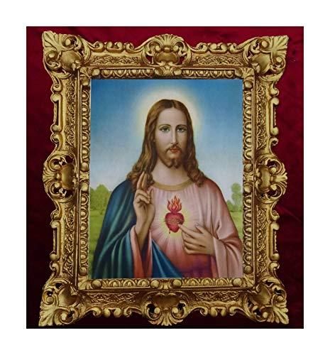 Lnxp GEMÄLDE Sacro Cuore di GESU Jesus Ikonen - Immagine Sacra con Cornice, 45 x 38 cm