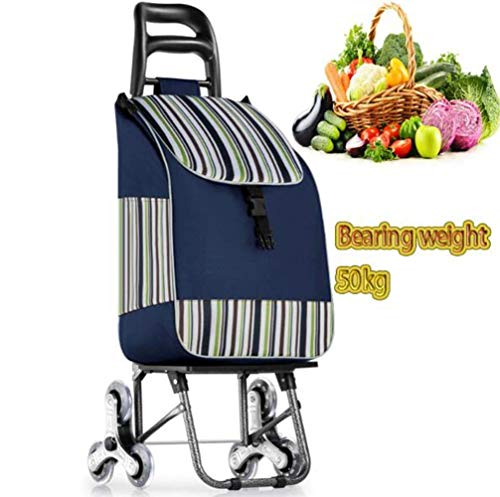 Pkfinrd Folding Einkauf Auto tragbarer Lebensmittelprogramm Leichte Stair Climbing Wagen mit Rollen-Schwenker Rädern und Abnehmbarer Wasserdicht Herausnehmbare Tasche (Color : Blue)
