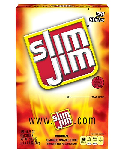 Slim Jim Smoked Snack Sticks, Original, 0.28 Ounce (Pack of 120)