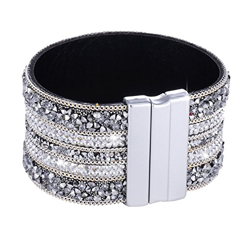 Morella Damen Glitzerarmband breit verziert mit Zirkoniasteinen und Magnetverschluss weiß Silber