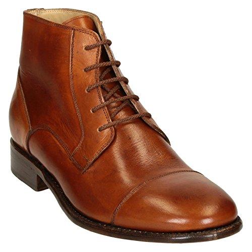 Tan Botas Vestido de Caballo Cuero Liso Casquillo del Dedo del pie de los Hombres - Número de Modelo: Pina 3022 Cavallo Cuoio - Tamaño: 40 EU