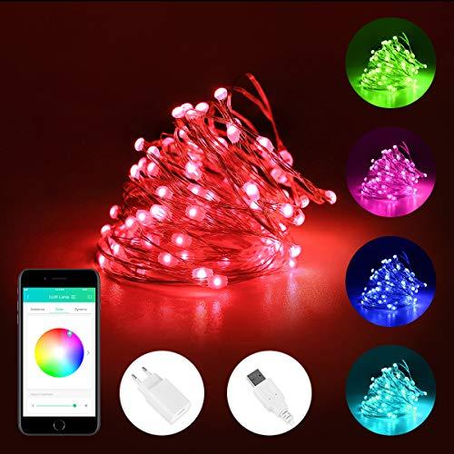 iLUX 5M LED Lichterkette aus Kupferdraht, 50er RGB LEDs, mit 5V 1A USB Netzteile, steuerbar via App, ideal für Weihnachtsdeko, Innen, Außen, Weihnachten Party usw.
