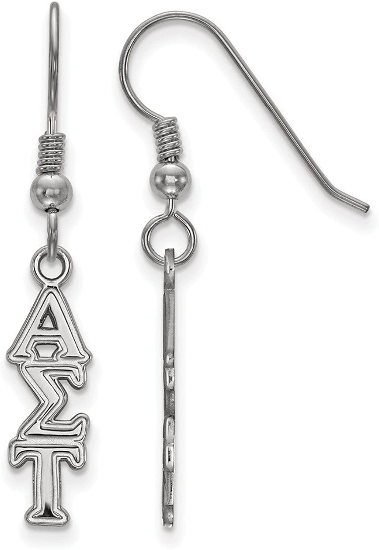 Beautiful Sterling silver 925 sterling Sterling Silver Rhplated LogoArt Alpha Sigma Tau Small Dangle Earrings
