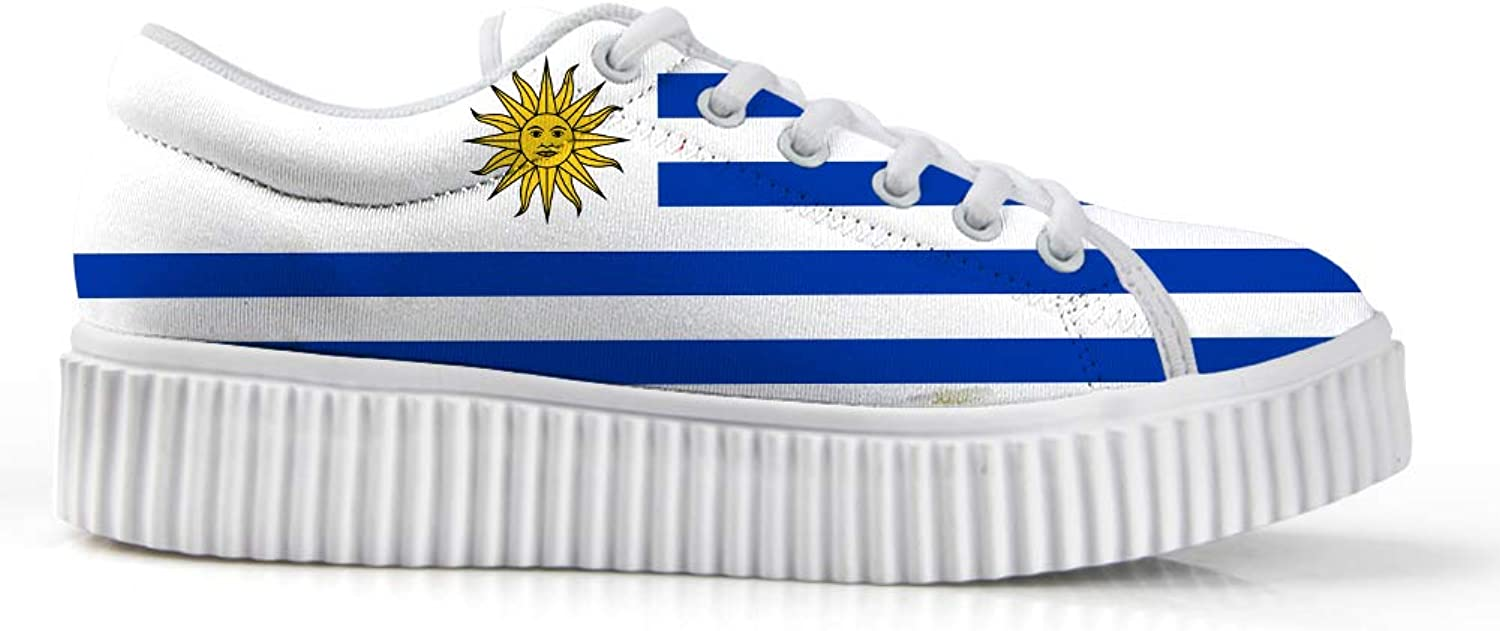 Owaheson Platform Lace up Sneaker Casual Chunky Walking shoes Low Top Women Uruguayan Flag