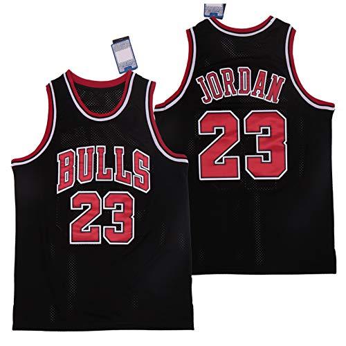 WJP Camiseta De Baloncesto Michael Jordan, Camiseta De Baloncesto De Los Chicago Bulls N. ° 23 Camisetas Sin Mangas De Verano Clásicas Bordadas Y Transpirables Black-S(170~175CM)