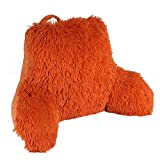 Home Soft Things Backrest Reading Pillow for Sitting Up with Arms Study Lounger Bedrest with DIY Filling for Adults Kids Shaggy Faux Fur Back Support, Burnt Orange, Assembly Needed, 20' x 18' x 17'