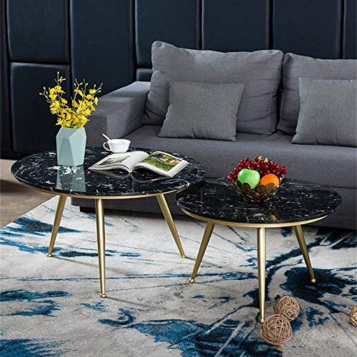 FACAZ Black Marble Coffee Tables, Modern Coffee Table Tea Table 2 Small Side Tables Sofa Side Table Cocktail Table For Living Room (Circle)