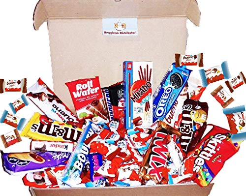 Mistery Box Italian Party Confezione Snack Assortiti 35 Pezzi Kinder Ferrero Mini e Maxi Kitkat M&m's Idee Regalo Compleanni