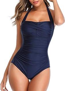 Riou Costume da Bagno Intero da Donna con Stampa Retro Plissettata Taglie Forti,Swimwear Sexy,Swimwear Spiaggia Bikini Est...