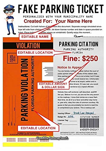 Gombita Enterprises Personalized Fake Parking Ticket - $5.up - Mail or PDF - 5,10, 25 Pieces - What a Great Way to Play A Joke On Someone - Customize When Ordering (PDF Digital Download to Email)