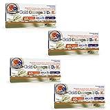 GOLD OMEGA 3 D3 2000IU + K2 Softgels | Olio di pesce EPA DHA | La fonte più pura della natura di acidi grassi Omega (120 Capsule)