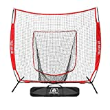 Hit Run Steal Practice Baseball and Softball Heavy Duty Large Hitting Net and Carrying Bag (Red)