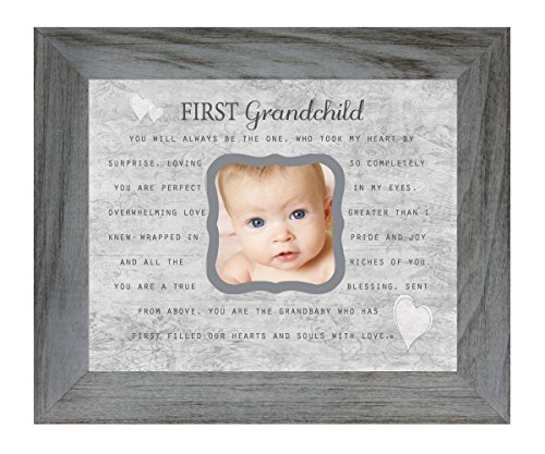 The Grandparent Gift Co. First Grandchild Poem 8 x 10 Inch Distressed Gray Picture Frame, Holds 3