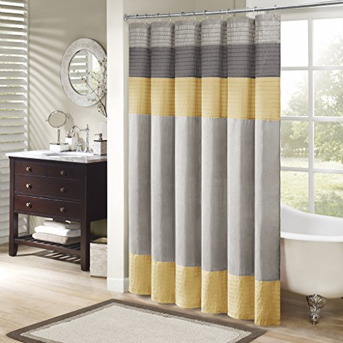 Madison Park Amherst Bathroom Shower Faux Silk Pieced Striped Modern Microfiber Bath Curtains, 72x72 Inches, Yellow