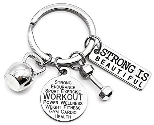 Workout Keychain Fitness Keychain Kettlebell Dumbbell Exercises Weightlifting Sports Key Chain Workout Gift Workout Key Ring Gym Keyring Fitness Key Chain