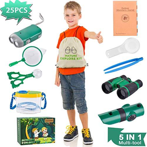 AMOYEE Abenteuerspielzeug für Kinder, 25 Stück Draussen Forscherset Spielzeug, Kinder Exploration Kit Outdoor-Spielzeug mit Kompass Lupensammler, für Jungen und Mädchen, Camping und Wandern