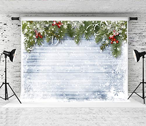 Kate 7x5ft Christmas Photography Backdrops for Photographers Wood Wall Backdrop White Snow Photo Background