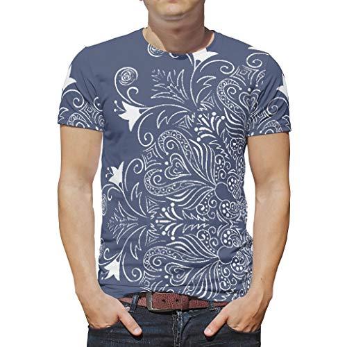 O2ECH-8 mannen Boho T. shirt jeugdige shirt, donkerblauwe mandela schat-outfit - patroon bedrukken Batik korte mouwen