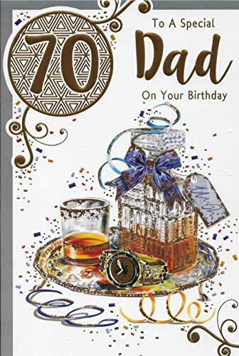Geburtstagskarte zum 70. Geburtstag, Motiv: Whiskey, 22,9 x 15,2 cm, AD9