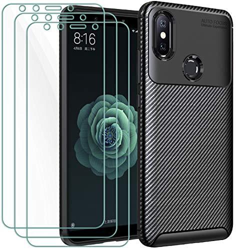 iVoler Cover per Xiaomi Mi A2 + 3 Pezzi Pellicola Vetro Temperato, Fibra di Carbonio Custodia Protezione in Morbida Silicone TPU Anti-Graffio e Antiurto Protettiva Case - Nero
