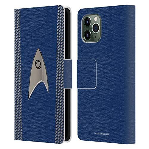 Officiële Star Trek Discovery Wetenschap Uniformen Lederen Book Portemonnee Cover Compatibel voor Apple iPhone 11 Pro