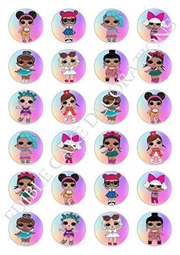 24 x LOL Dolls Celebration Essbare Papier Cupcake Toppers Kuchen Dekorationen Geburtstag