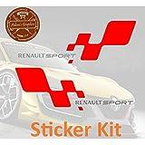2 pegatinas para Renault Sport – rojo y plateado – Clio Megane 182 197 RS Side Flag