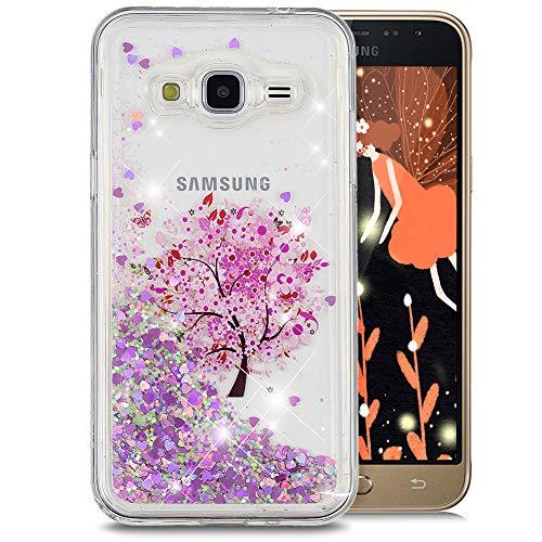 WIWJ Schutzhülle Kompatibel mit Samsung Galaxy J3 2016 Hülle Glitzer mit 3D TPU Glitter Quicksand Transparent Silikon Weich Bumper Case Handyhüllen für Samsung Galaxy J3 2016-Blumenbaum