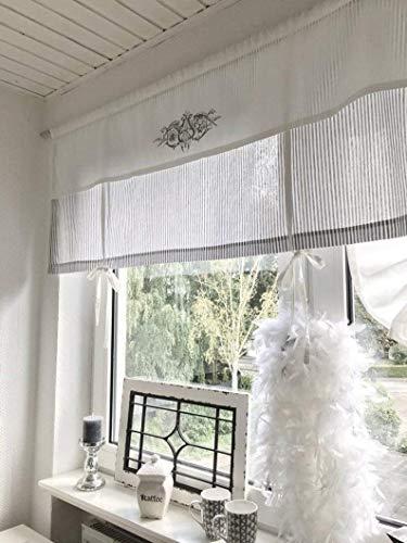 Raffrollo Gardine gestreift grau/weiß