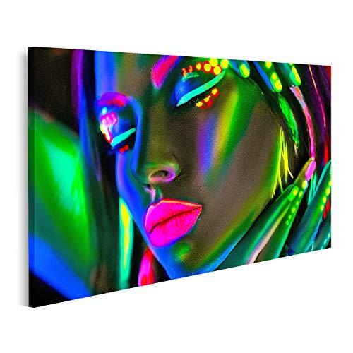 Bild Bilder auf Leinwand Mode Model Frau in Neonlicht Porträt eines schönen Model Mädchens mit farbenfrohem, fluoreszierendem Make up Wandbild Poster Leinwandbild QBXM